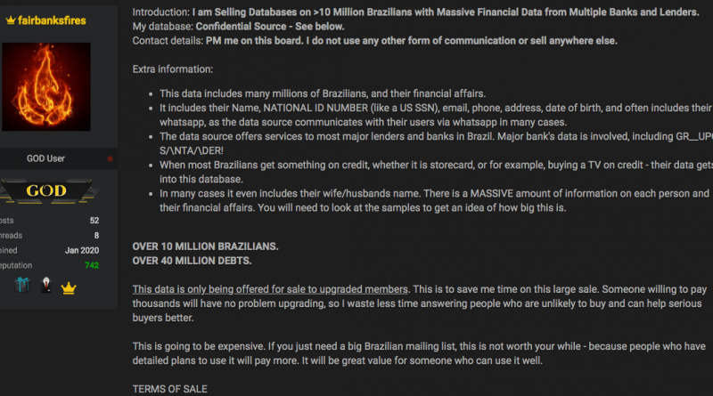 Fórum gringo leiloa coleção com dados financeiros de 10 milhões de brasileiros