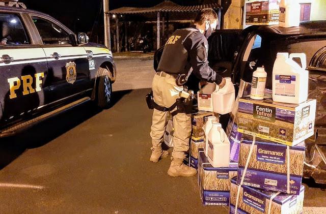 PRF prende casal de contrabandistas com mais de 330 kg de agrotóxicos em Rosário do Sul